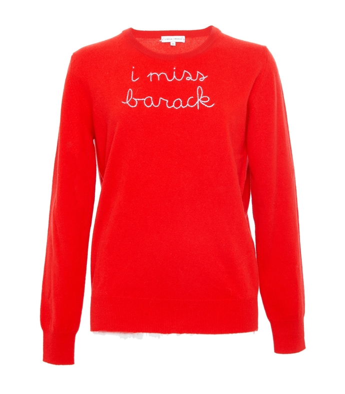 red i miss barack embroidered cashmere sweater