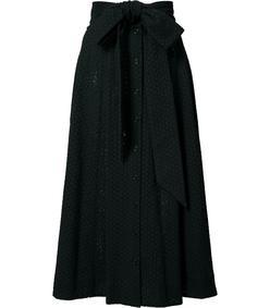 black eyelet belted midi skirt