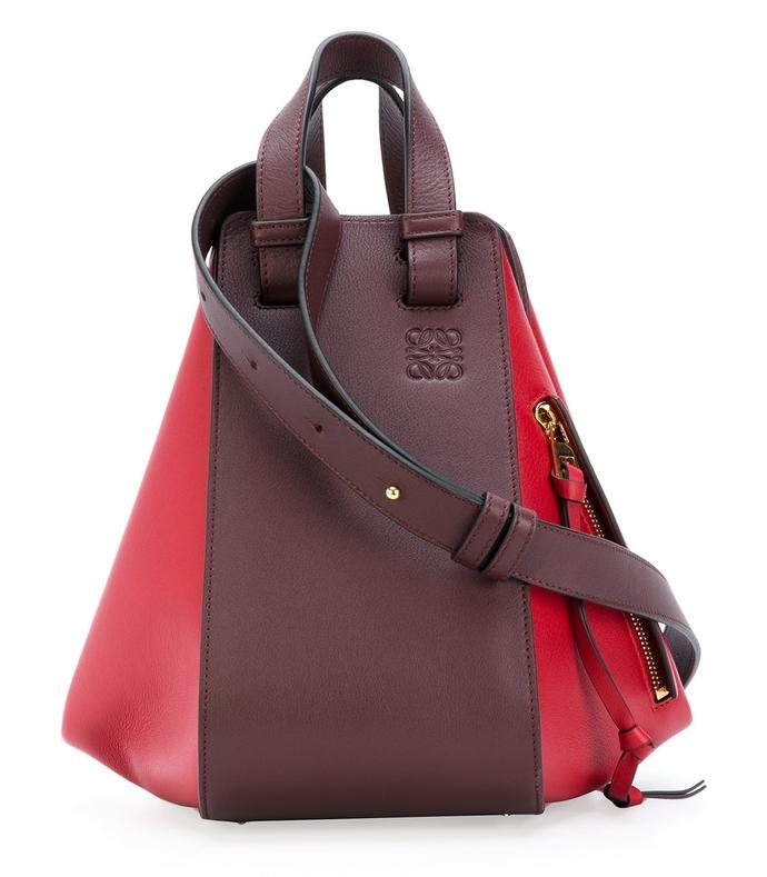 red & burgundy two-tone hammock bag