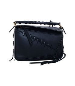 black puzzle small textured leather shoulder bag