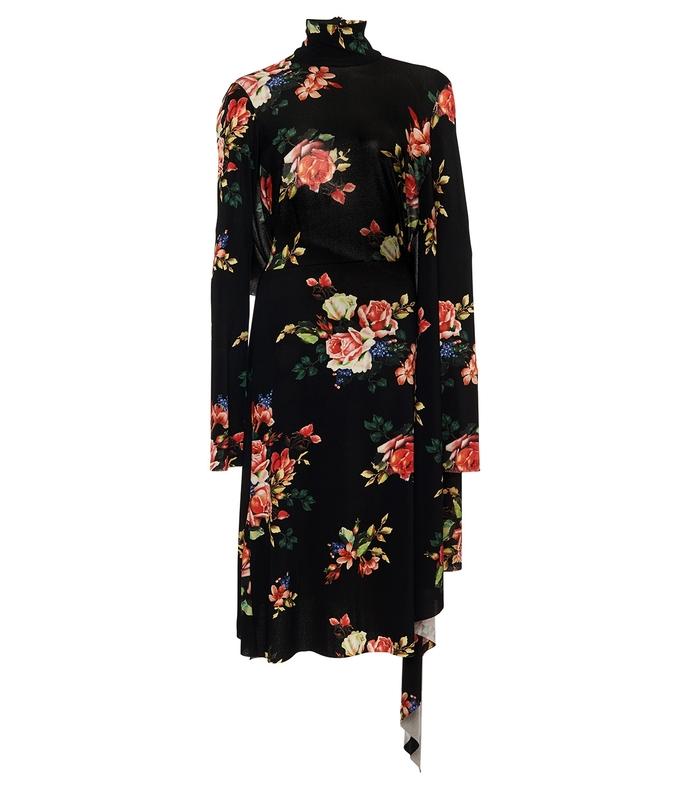black multi open-back floral print cady dress