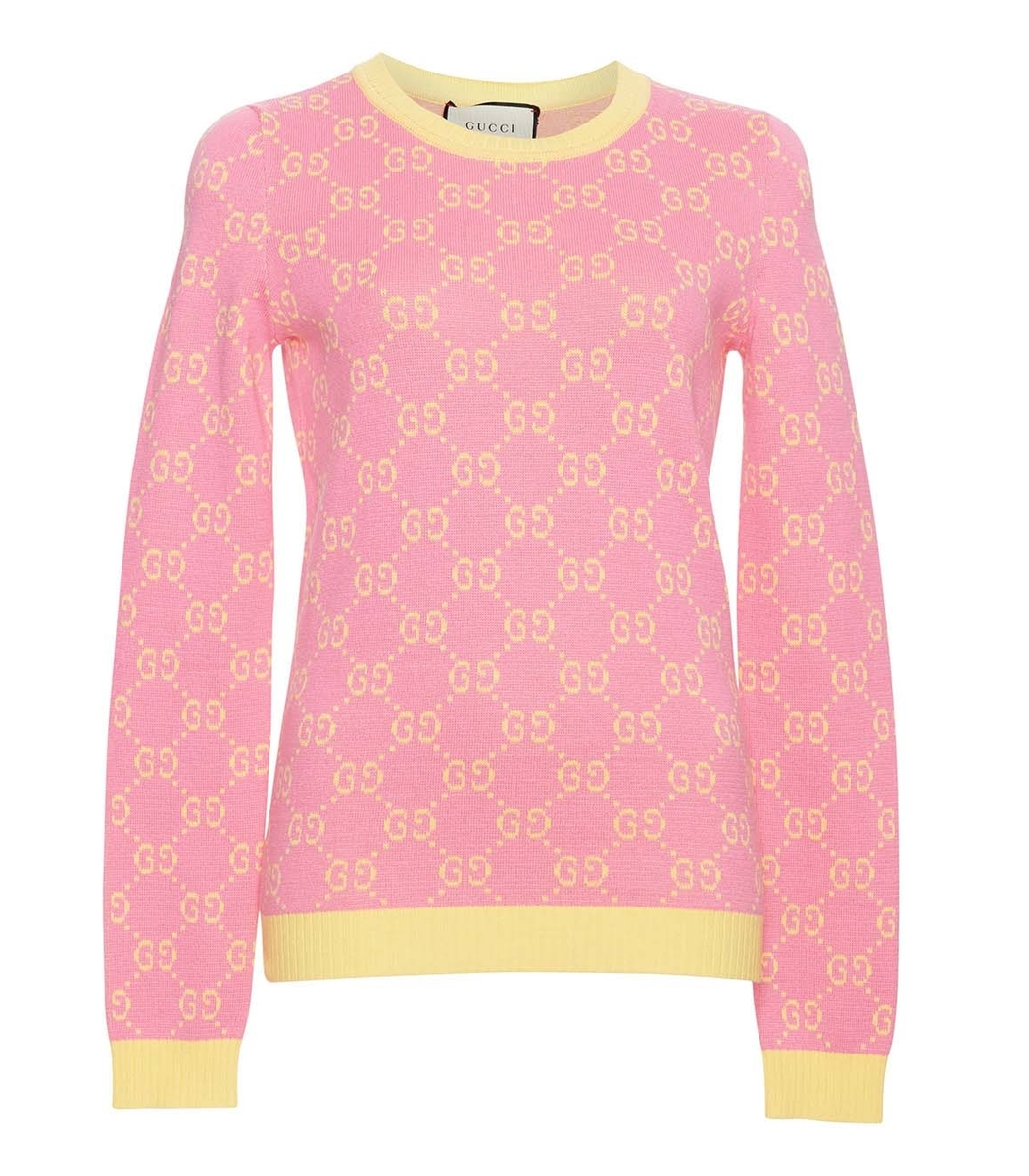 GUCCI YELLOW PINK LONG SLEEVE CREWNECK SWEATER, PINK ...