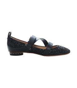 black glitter ballerina strap flat