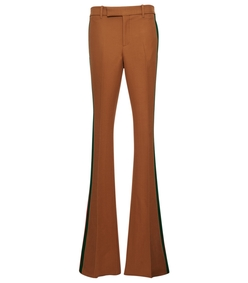beige multicolor wide leg side stripes trouser