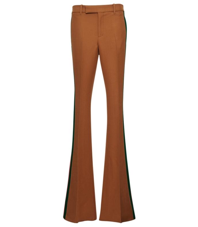 beige multicolor wide leg side stripes trouser