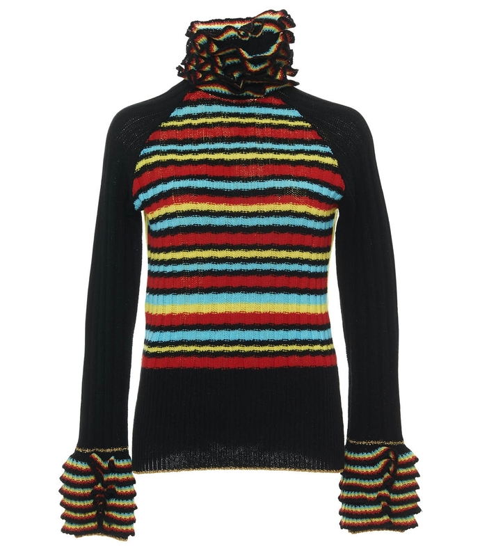 black multicolor ruffle rainbow sweater with tiger