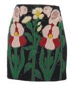 black/multicolor leather flower intarsia mini skirt