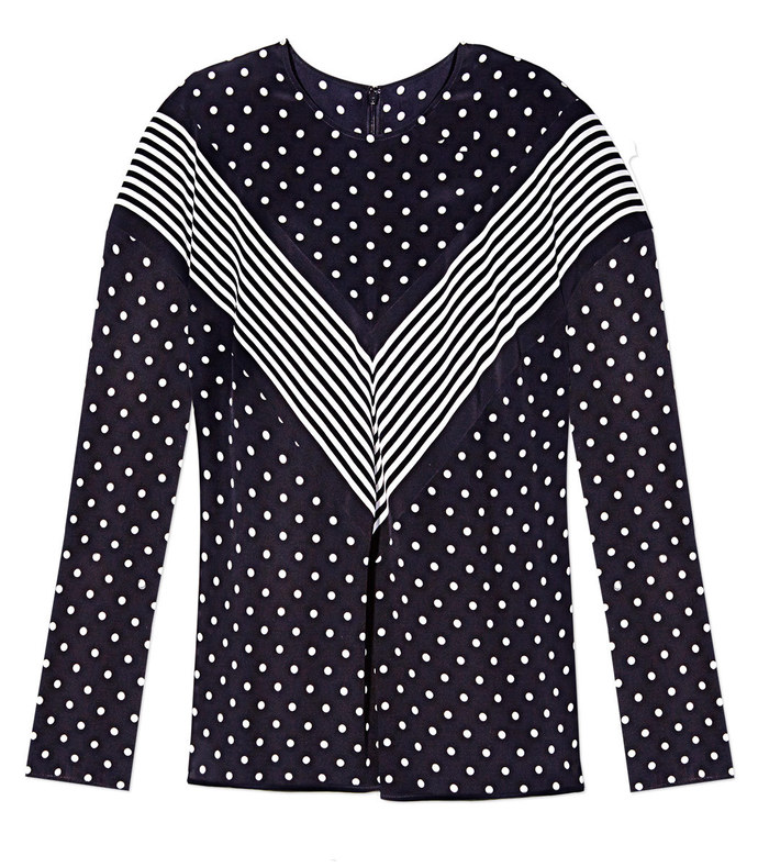 black 'louisa' polka-dot top
