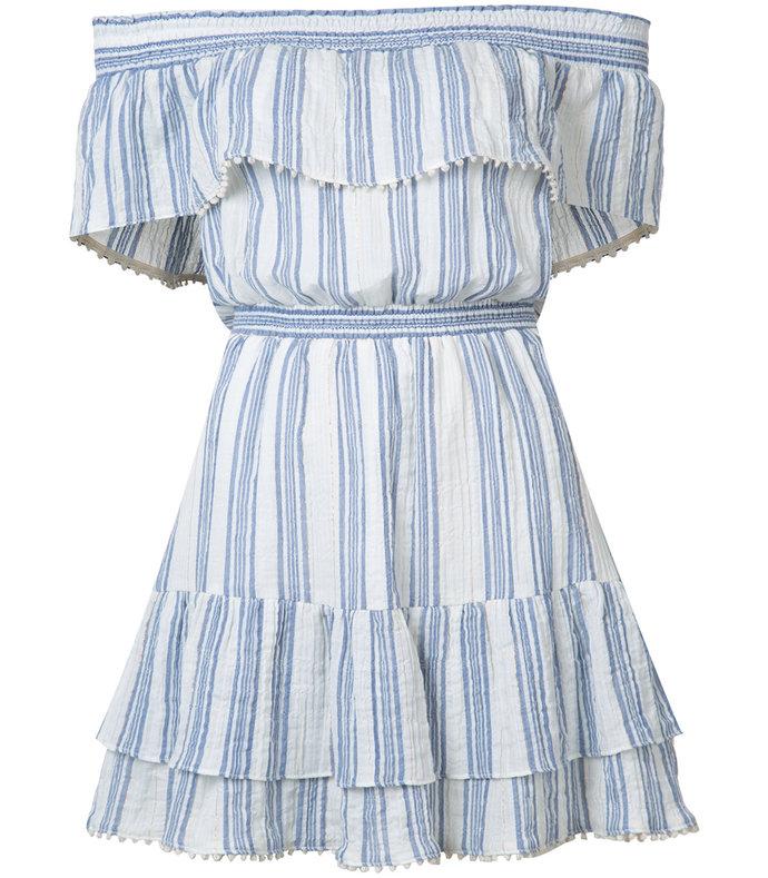 blue & white stripe off-shoulder dress