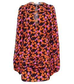 multicolor udine long sleeve v-neck mini floral dress