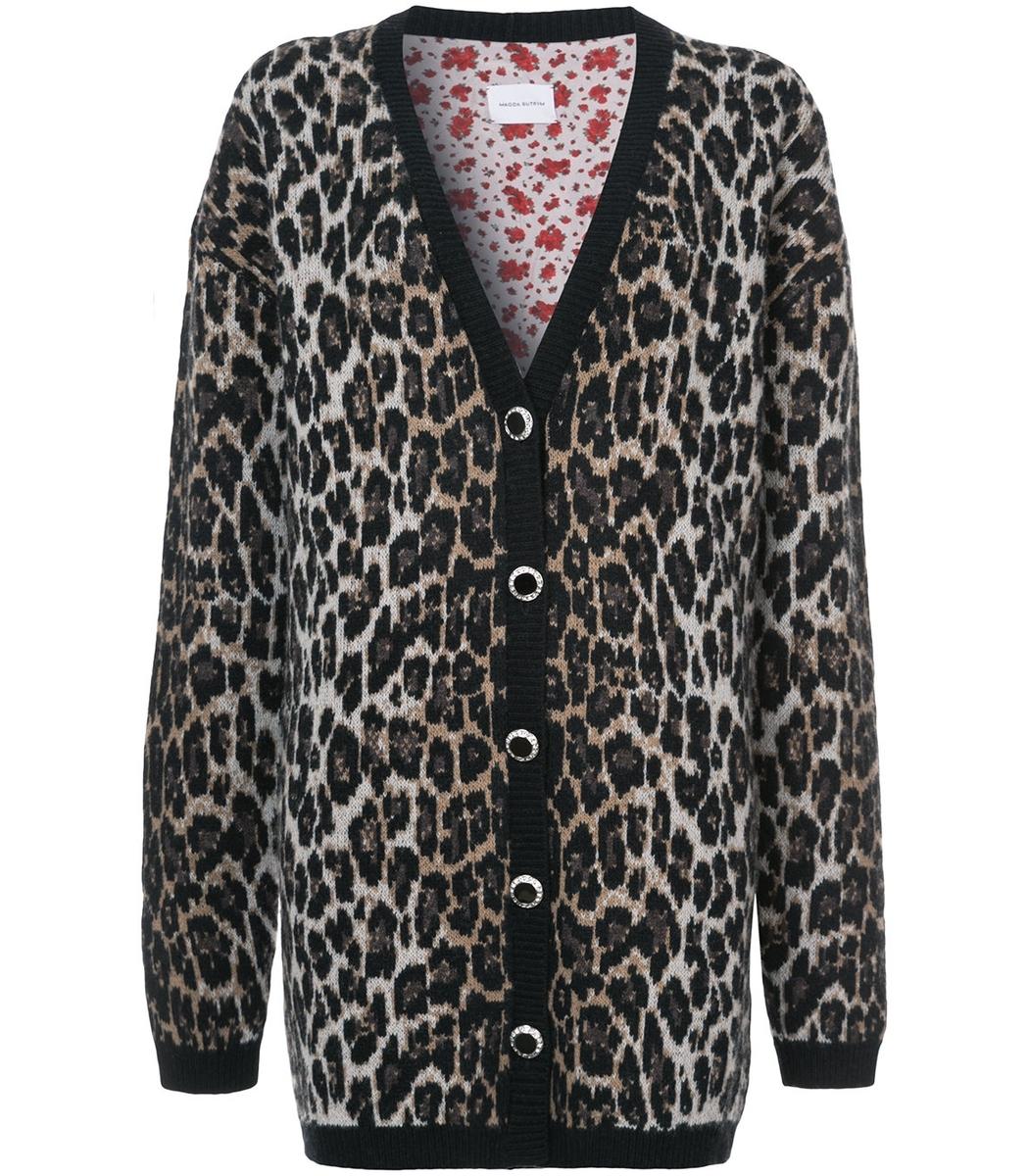 Magda Butrym Print Cardigan - Leopard Print Wool Cardigan