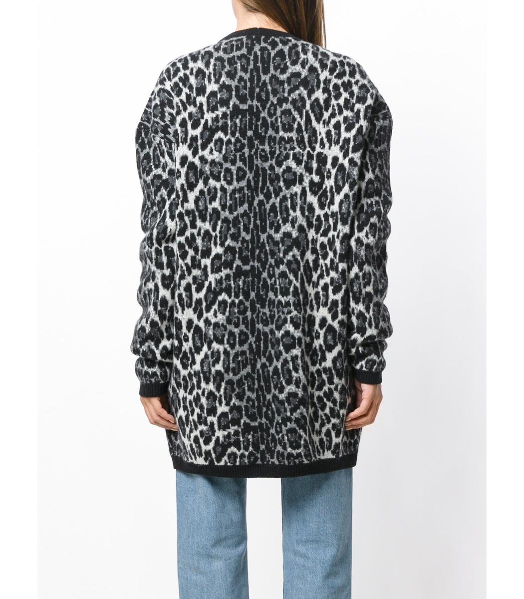 Magda Butrym Leopard Print Cardigan - Silver Cotton Cardigan