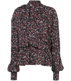 black multi floral blouse
