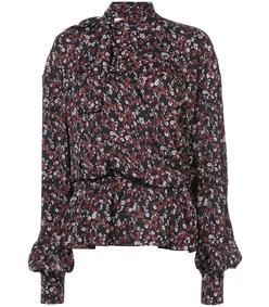 black multi floral blouse