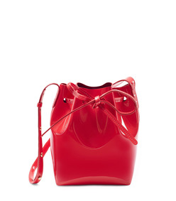 red 'mini mini patent bucket bag