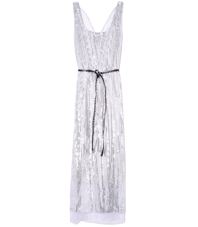 Scoop Neck Dress in Silver 210000030098