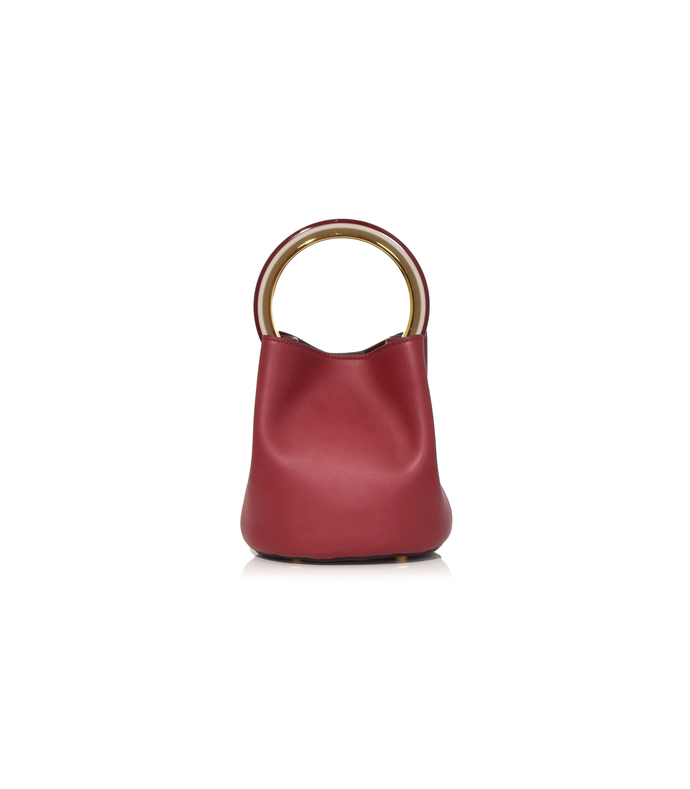 burgundy and cement pannier top handle bag