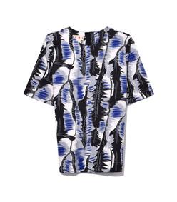 blue multicolor sodium short sleeve crew neck blouse