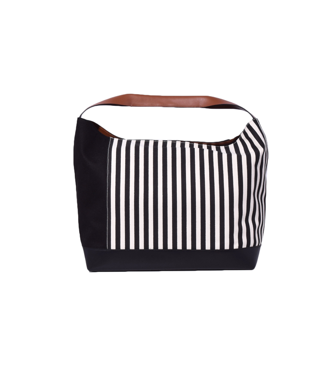 black striped shoulder bag