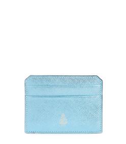 blue metallic saffiano leather card case