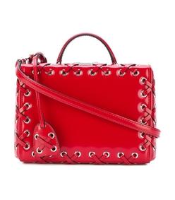 red cross stitch box bag