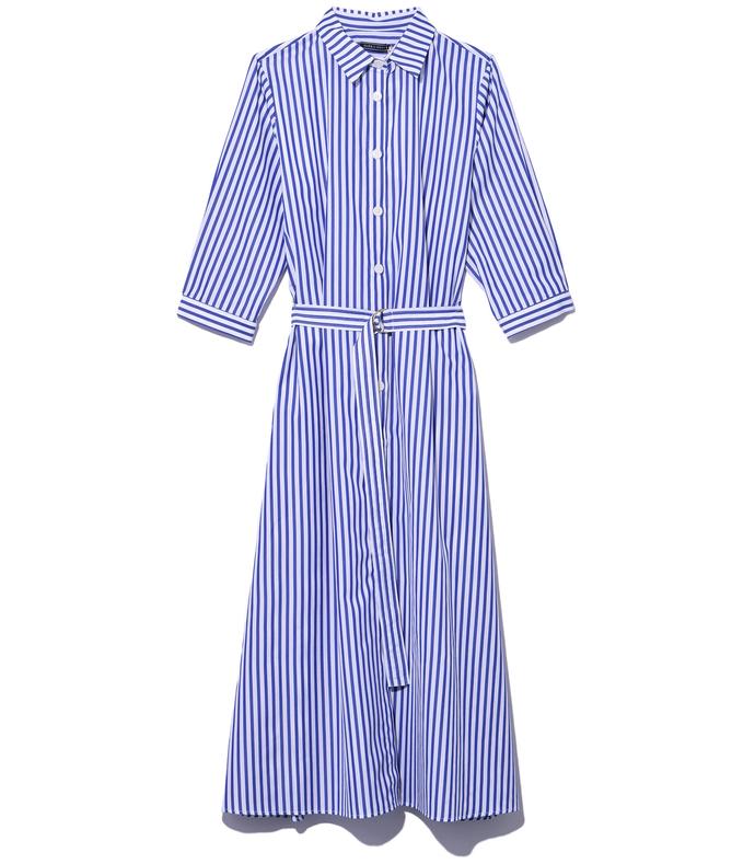 blue stripe shirtdress