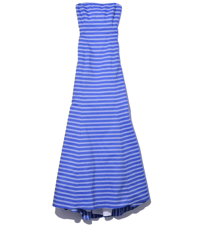 blue stripe 'ray' strapless gown