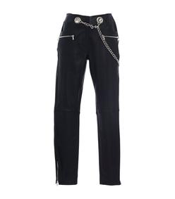 black miaou carlotta leather skinny chain belt pants
