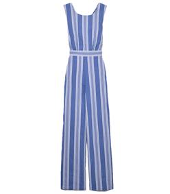 blue striped jumpsuit