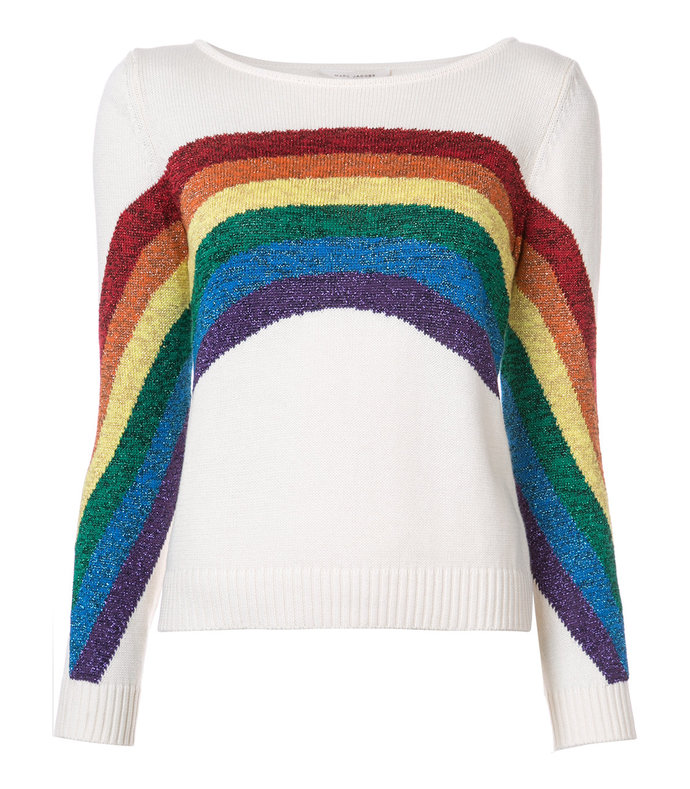 white rainbow knitted top