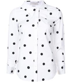 white & black polka dot shirt