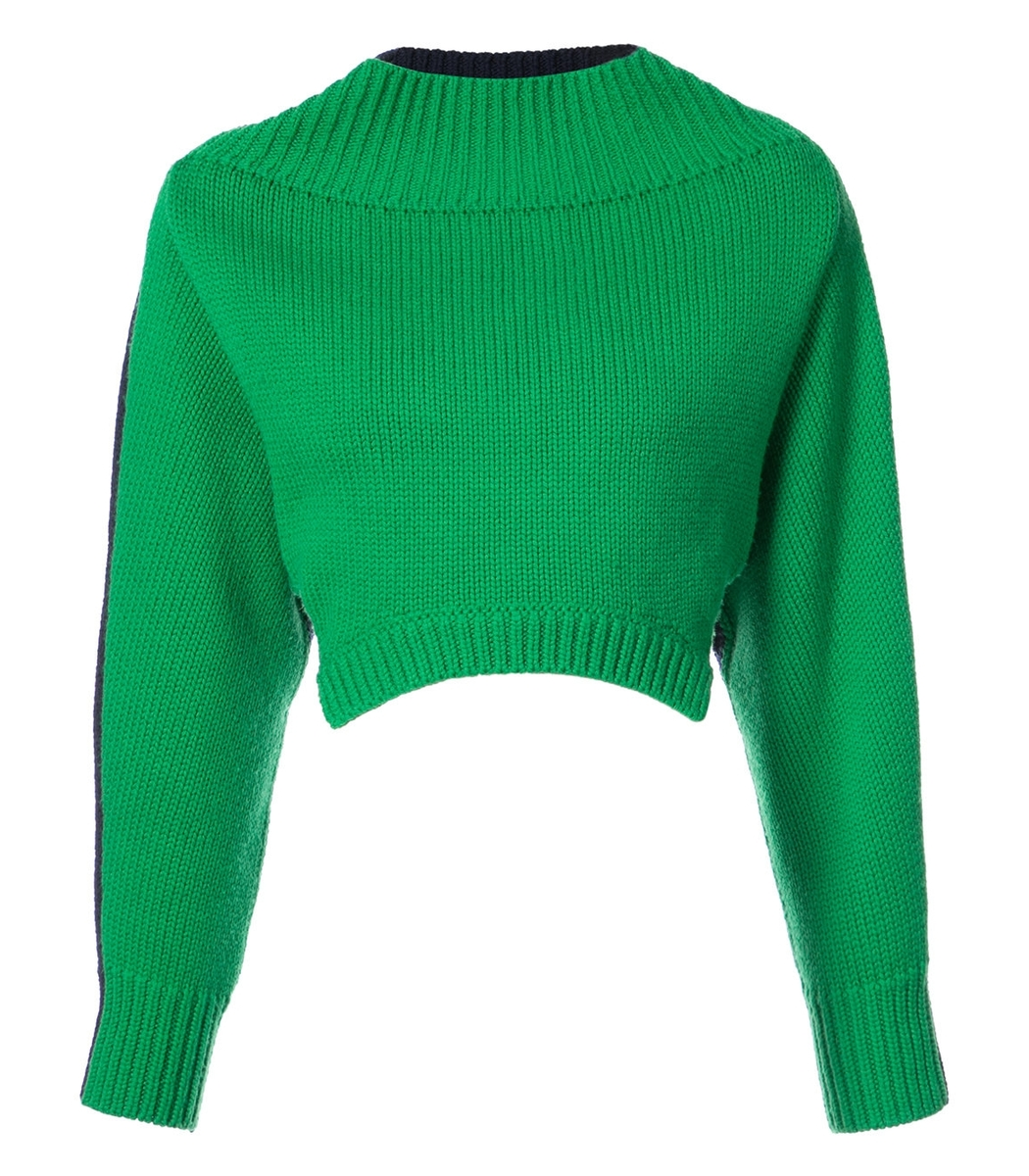 Monse Oversized Cropped Sweater - Green/Navy Boat Neck Sweater