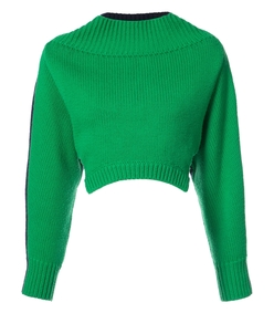 green/navy oversized cropped sweater