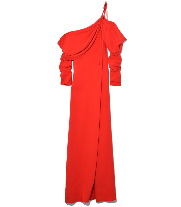 cowl sleeve gown in red