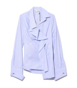 blue & white draped shirt