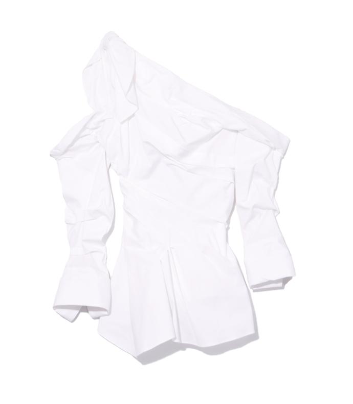 white draped peplum detail shirt