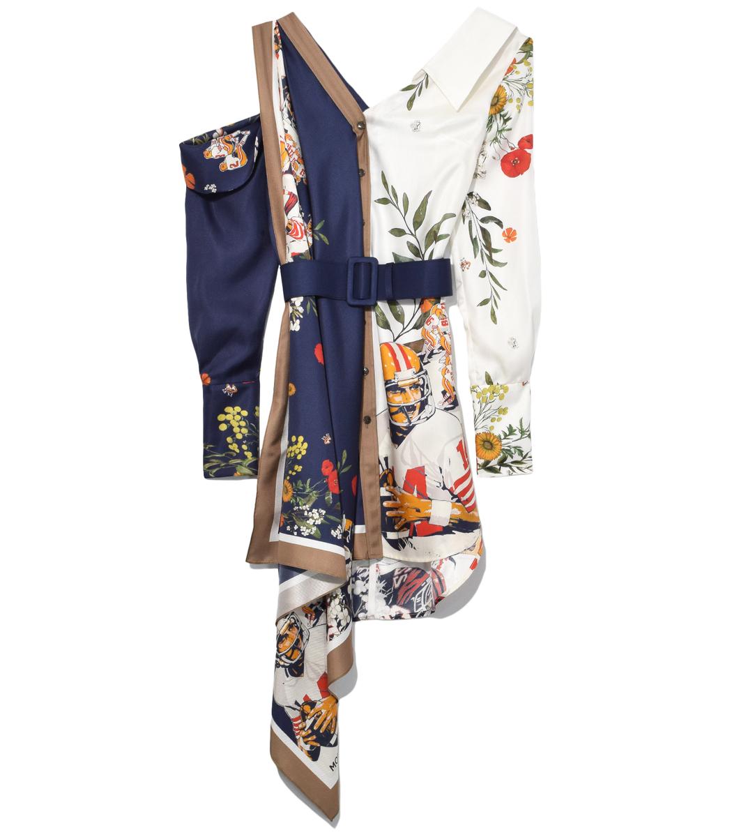 Monse  Navy/Ivory Multi Football Floral Split Print Dress