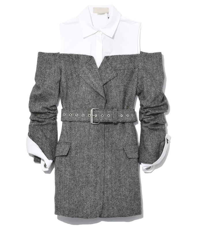 charcoal/white herringbone jacket with belt