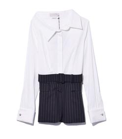 white & grey stripe shirt jacket