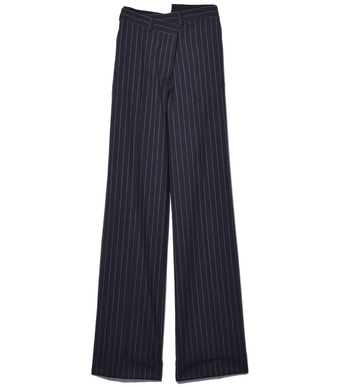 grey & white pinstripe pant