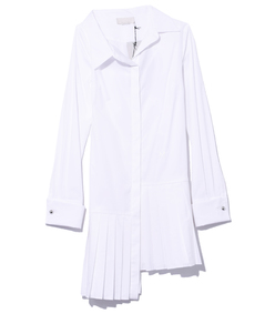 white shirtdress with pleated skirt
