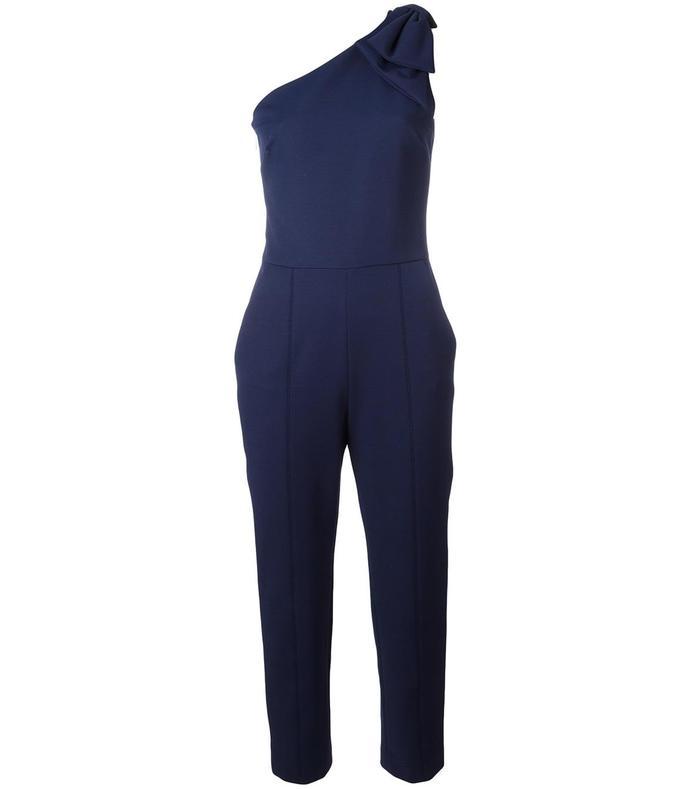 navy single shoulder cropped jumpsuit
