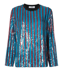 orange/blue sequin striped sweater