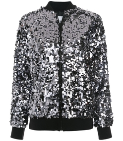 grey sequinned bomber jacket