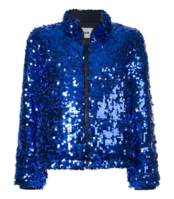 blue sequinned puffer jacket
