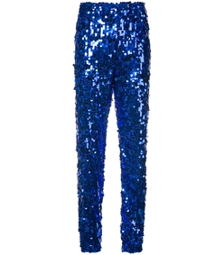 blue sequinned jogging pants
