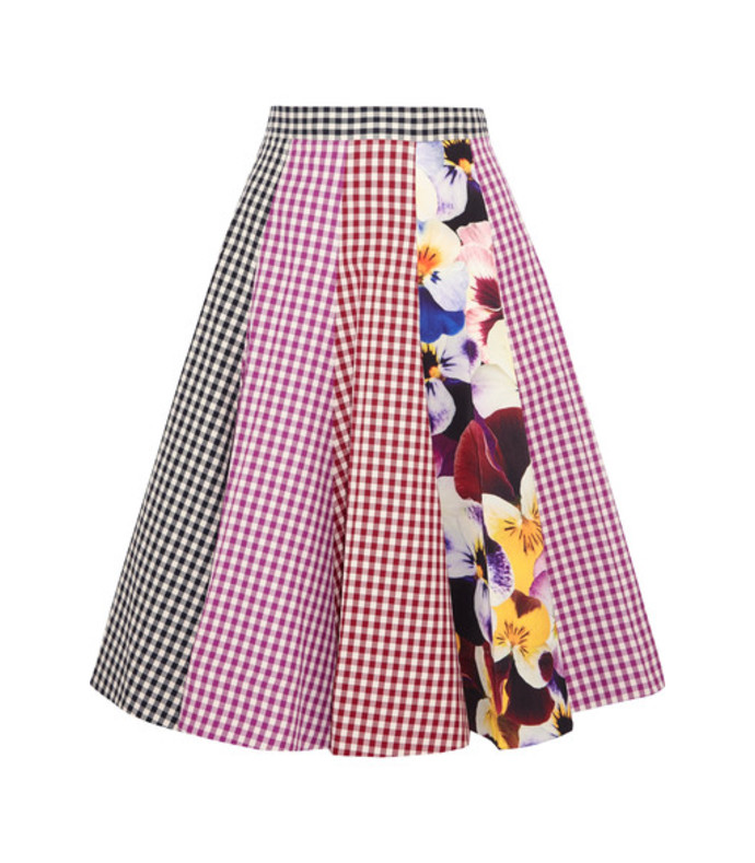 gingham printed a-line skirt