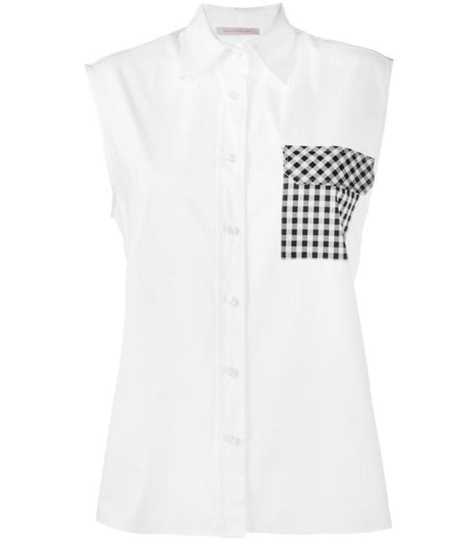 white sleeveless gingham pocket shirt