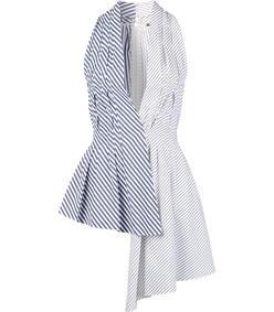 blue & white asymmetric stripe blouse