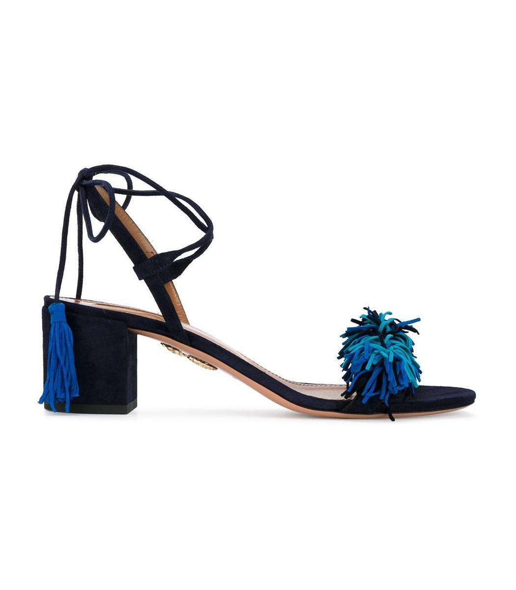 Aquazzura Suedes Black & Blue 'Wild Thing' Sandal
